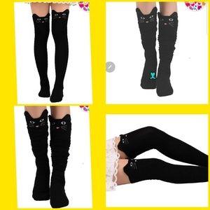 Thigh high cat socks.